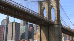 Stock Video Footage of Brooklyn Bridge Underneath HD
