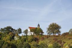 st sebastian chapel, nordheim vor der rhoen, rhoen, franconia, germany - stock photo