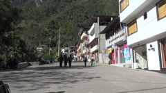 Peru Aguas Calientes street and buildings s - stock footage