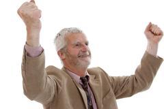 jubilating, older man - stock photo