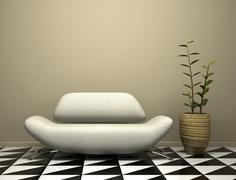 Stock Illustration of part of the modern interior with sofa and plant