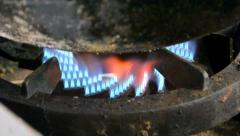 Gas stove fire closeup, kitchen cooking details. Stock Footage