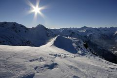 Allgaeu alps in wintertime, backlight, schattwald, tanheim valley, tirol, aus Stock Photos