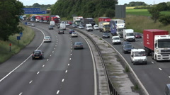 busy traffic on m6 motorway in cheshire, england - stock footage