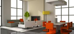 Fictitious interior of color paperboard Stock Illustration