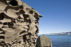Stock Photo of bizarre rock formations along the coast, western fjord, iceland, atlantic oce