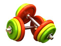 Multicolored barbells in different position Stock Illustration