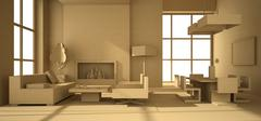 Fictitious interior of paperboard Stock Illustration