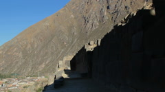 Peru Sacred Valley Ollantaytambo inca wall and steep slopes Stock Footage