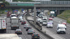 close up of traffic on m6 motorway in cheshire, england - stock footage