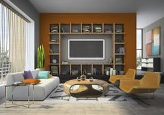 View on the comfortable living-room Stock Illustration