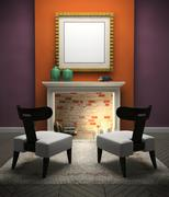 part of the modern interior with two chairs - stock illustration