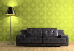 part of the modern interior with sofa and lamp - stock illustration
