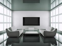 modern black and white interior - stock illustration