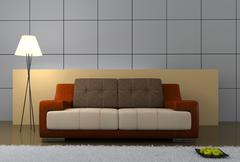 part of the modern interior with sofa - stock illustration