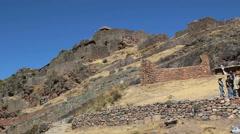 Peru Pisac Inca ruins built on steep hill 3 Stock Footage