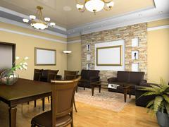 office interior in classical style - stock illustration