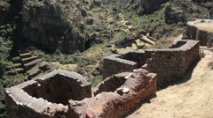 Peru Pisac hilltop ruined thick houses of stones 4 Stock Footage