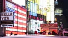 American Flag in Times Square New York City NYC USA 4K Stock Footage