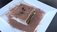 Plate of tiramisu, italian cuisine Stock Footage