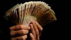 Hands showing european currency cash money Stock Footage