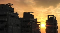Sunset over the skyline of Buenos Aires Stock Footage