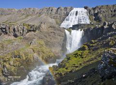 dynjandifoss (fjallfoss) waterfalls, western fjord, iceland, atlantic ocean - stock photo