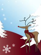 Illustration of rudolph the red nosed reindeer on a hill. winterscene with tw Stock Illustration