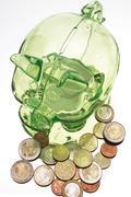 Green piggy bank with euro coins Stock Photos
