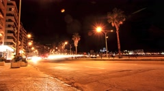 Nightly traffic in Montevideo Stock Footage