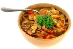 cabbage, vegetables and mushrooms vegetarian soup - stock photo