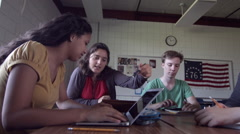 Students use computer technology in class room HD Stock Footage