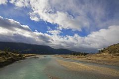 river landscape at the carretera austral, patagonia, chile, south america - stock photo
