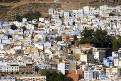 Stock Photo of vista of many colourful houses of the medina chefchaouen morocco