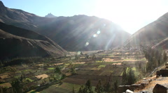 Peru Sacred Valley floor with fields and sun rays 5 Stock Footage