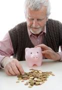 symbolic for retiree with minimum pension - stock photo