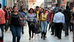City people on Move. Commerce street, Downtown, Sao Paulo, Brazil - stock footage