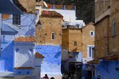 blue painted houses medina chefchaouen morocco - stock photo