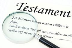 symbolic for testament under loupe - stock photo