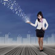 Full length of woman holds digital tablet Stock Illustration