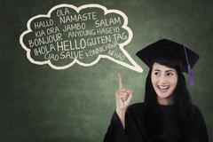 Stock Illustration of language bachelor in class