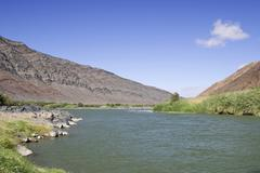 Boarder River Oranje River between South Africa and Namibia, Africa - stock photo