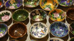 bowls with traditional decoration, cloisonné handicraft, china - stock photo
