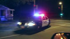 Police chase with fugitive car driving near camera Stock Footage