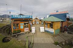 ticket hauses from boot excursions ushuaia, most southerly town of the world, - stock photo