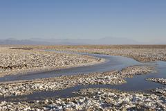 Stock Photo of salt formations covering the ground of the reserva nacional los flamencos at