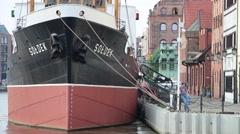 Soldek museum ship in Gdansk, Poland Stock Footage