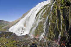 Dynjandifoss (fjallfoss) waterfalls, western fjord, iceland, atlantic ocean Stock Photos