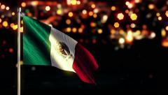 Mexico National Flag City Light Night Bokeh Loop Animation - 4K Ultra HD UHD - stock footage