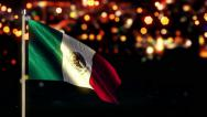 Stock Video Footage of Mexico National Flag City Light Night Bokeh Loop Animation - 4K Ultra HD UHD